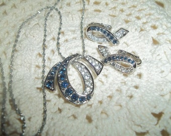 Fabulous 1980s Signed Gallery Originals Rhinestone Pendant Necklace With Matching Clip On Earrings