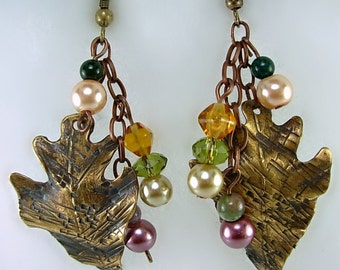 Distressed Brass Leaf Earrings, Glass Pearls, Crystals , Jasper, Autumn/Fall Earrings