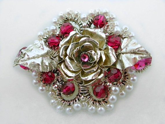 Statement Jewelry, Silver Rose Pendant or Brooch, Fine Jewelry