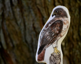 Red-Tailed Hawk Pillow Toy. Hand Painted Organic Cotton Nature Table Toy. Ready to Ship.