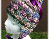Child's Purple Satin Earflap Pom pom Hat
