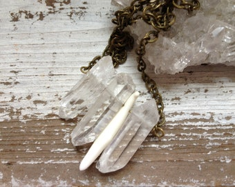 Clear Quartz Necklace - Quartz Point Coyote Fang Necklace - Chevron Crystal Necklace Spears - Native, Tribal, Boho, Gypsy - OOAKO