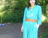 Vintage 1980s Secretary Dress // Pistachio Green White Dress // KARIN STEVENS // Size Medium