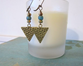 Triangle Earrings - Antique Brass