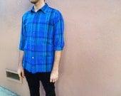Blue PLAID Long Sleeve BUTTON UP Shirt