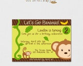 Printable DIY Monkey Invitation & Thank You Card Set (Birthday, Baby Shower) Personalized (5x7)