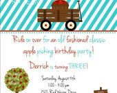 "Wagon Invitation for birthday or baby shower, 4.25""x5.5"" with matching envelopes, DIY Printable"