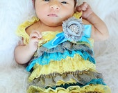 Turquoise Yellow and Gray Lace Newborn, Toddler, Girl Baby Petti Romper Photo Prop With  Hair Shabby Flower Clip