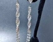 """Bridal jewelry - LONG - Pave Crystal - Rhinestone earrings - 3 1/2"""" of SHIMMERING crystals - Slim twisted design - STATEMENT earrings"""