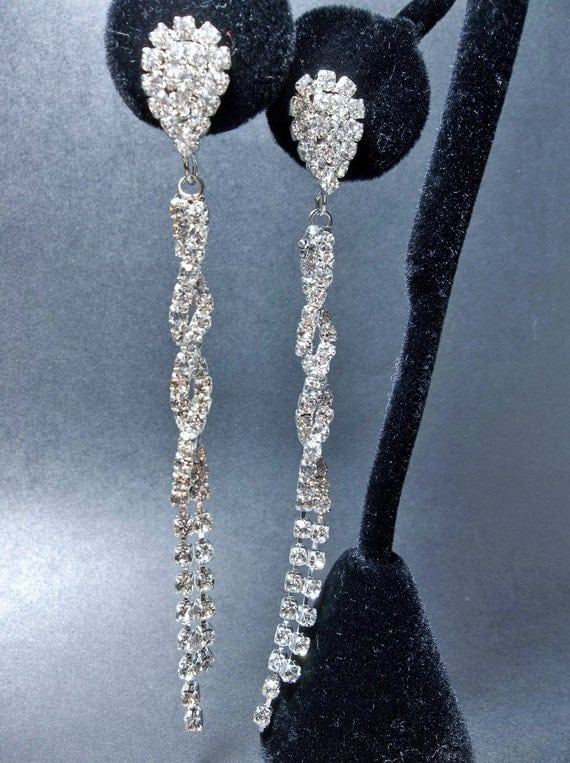 "Bridal jewelry - LONG - Pave Crystal - Rhinestone earrings - 3 1/2"" of SHIMMERING crystals - Slim twisted design - STATEMENT earrings"