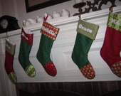Two Personalized Christmas Stockings - Made to Order