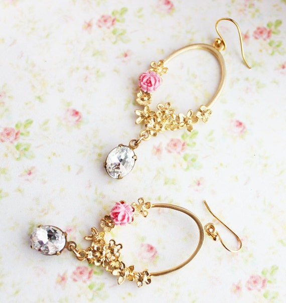 Daydream in Rose Pink Earrings. Weddings. Bridesmaids Earrings. Bridal Jewelry. Spring, Summer, Romance. Whimsical. Pink and Gold
