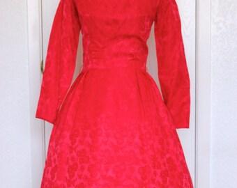 Red Sue Leslie Brocade Vintage Party Dress