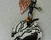 Clay Raven Pendant, Rust Painted Brass Leaf on Gunmetal Chain, One of a Kind
