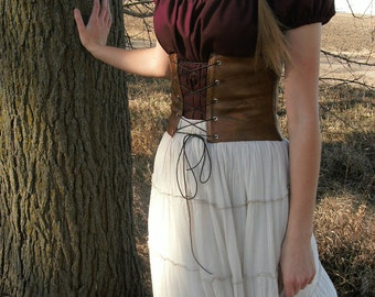 Modest Historical Costume Set--- Chemise, Skirt, and Leather Corset/Cincher--- Renaissance, Viking, Swedish, Historical, Peasant, etc...