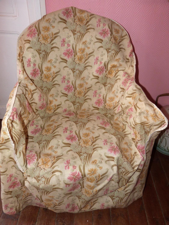Antique French Arm Chair Slipcover Art Nouveau Floral Fabric