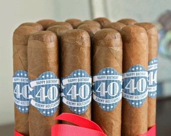40th Birthday Cigar Bands - Regal Scrolls - 16 Custom Printed Cigar Labels