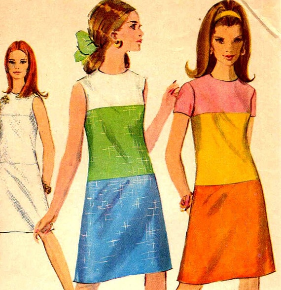 mod color block a line dress sewing pattern by
