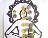 Chakra Rubber Stamp Set - 7 chakra symbols and 1 Easy pose Yoga stamp - sale!