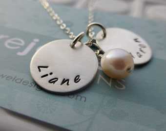 Hand Stamped Name Jewelry - - Mommy Necklace Neckalce - - Sterling Silver
