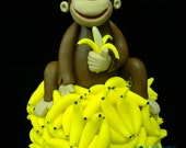 Monkey On Mountain of Bananas Cake Topper