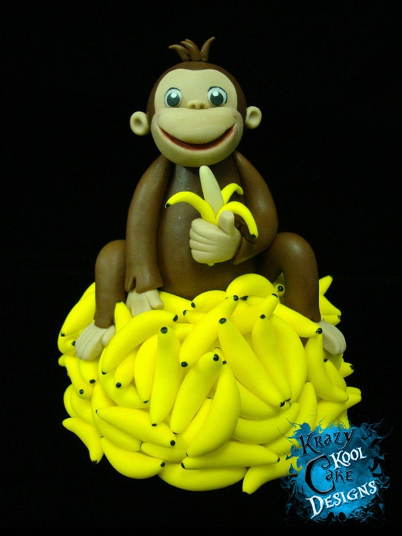 Monkey on mountain of bananas cake topper - Banana cake decoration ...