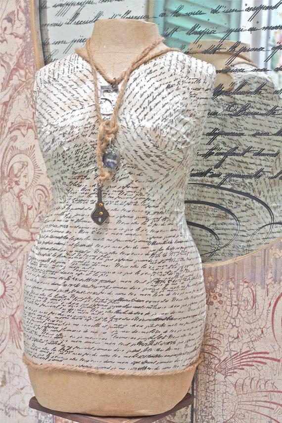 Dress Form or Mannequin Papier-mâché One of a Kind Handmade