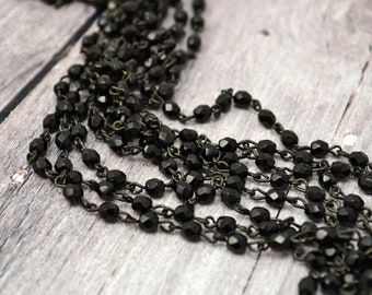 Rosary Chain - 4mm Black Beads on Black Brass Links - Czech Bead Chain - 3 Feet