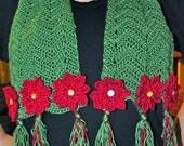 Crochet Pattern PDF - Scarf - Poinsettia Flower - Christmas Holiday Chevron Accessory
