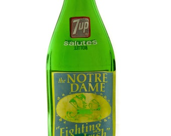 Notre Dame Vintage 1973 7-up Bottle MELTED Flat to hang on the wall