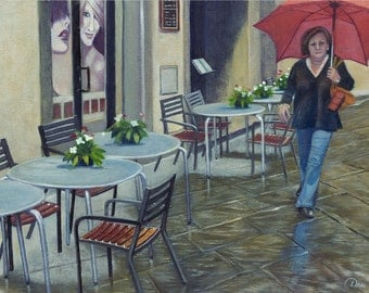 Cortona Rain (Tuscany, Italy) Painting - Museum Quality Limited Edition Prints on Un-Stretched Canvas with Archival Inks