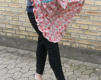 Frilly floral coral apron - women's half apron - retro 1940's style