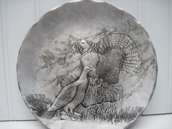 Vintage   plate  wendell august ruffed grouse handmade hunting lodge bird game