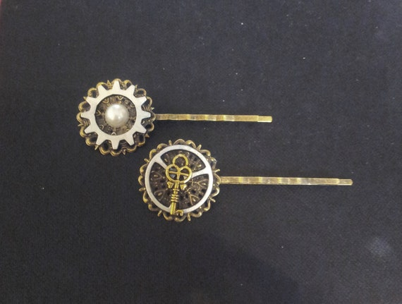 RESERVED: Feminine steampunk hair pins with antique silver tone cogs and gears, key charm and faux pearl on brass filigree bases