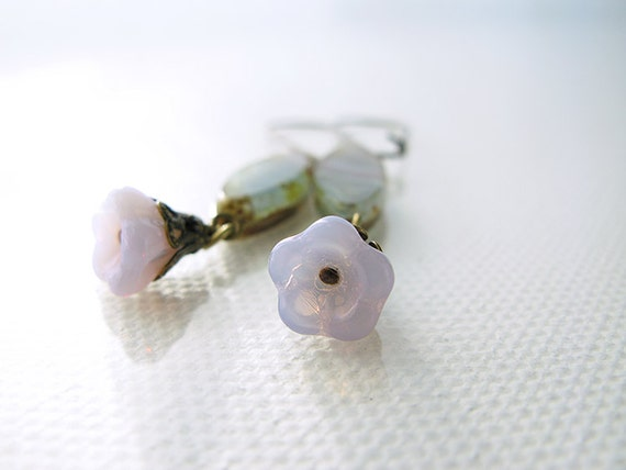 Pretty Flower Dangle Earrings in Lilac for Everday Wear