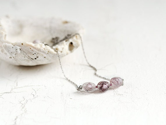 Vintage Glass Bead Necklace. Delicate necklace with Sterling Silver chain. Simple, subtle, sophisticated jewelry