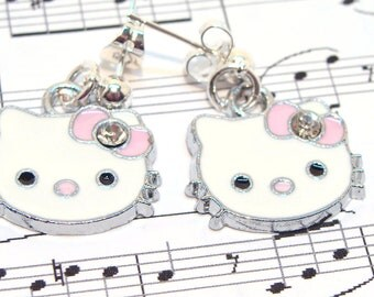 Kitty Face Earrings with Pink Bows and Rhinestones