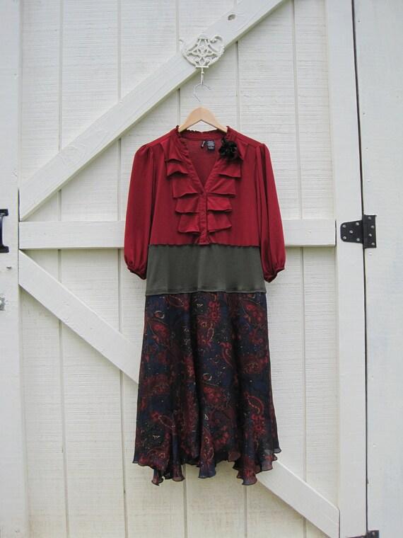 Hippie dress M, Red gypsy dress, Funky gypsy dress, Boho dress, bohemian dress M upcycled dress Ready to ship