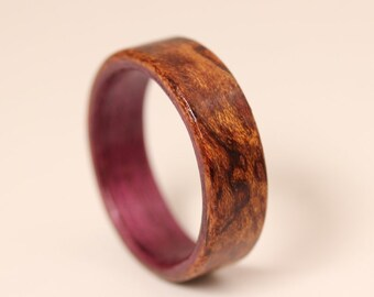 Wooden Ring - Waterfall Bubinga featuring Purple Heart Liner - Handcrafted Bentwood Ring - And We Plant A Tree:)