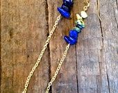 Tribal Chain Earring - Blue Lapis and Yellow Turquoise - Gift Boxed