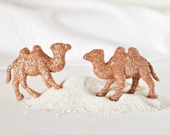 Camel Tree Ornaments Holiday Home Decor in Metallic Copper Glitter Moroccan Themed Party Decorations or Wedding Favors Gift Set of 2