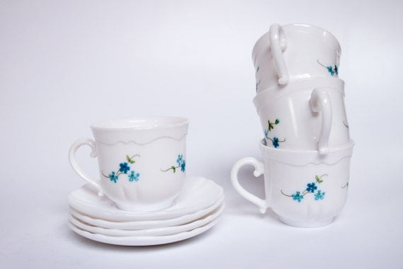 Arcopal Veronica milk glass tea cups and saucers