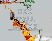 PEEL and STICK Kids Nursery Removable Vinyl Wall Sticker Mural Decal Art - Winnie the Pooh Tigger and Friend Swinging