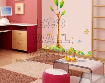 PEEL and STICK Removable Vinyl Wall Sticker Mural Decal Art - Big Tall Tree Garden Corner
