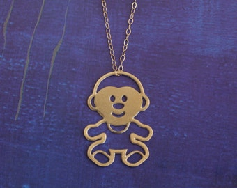 Gold Monkey Necklace , Chimpanzee Charm , Kawaii Necklace, Cute Jewelry , Monkey Jewelry , Chimpanzee Jewelry , Chimpanzee Charm