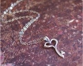 Heart Key Necklace -STERLING SILVER- PERFECT 'Valentine's Day Gift' for Wife, Mother, Daughter, Grandma, Friend by RevelleRoseJewelry