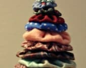 Fabric YoYo Christmas Tree with Star and Bell