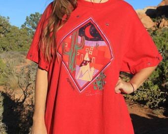 Kayenta - Vintage 1990 Southwest Oversize Slouchy T-shirt, Abstract 3D Wolf, Jerzees, XL