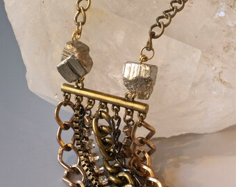 ON SALE-Statement Necklace with Pyrite and Multi Chains-Pauletta Brooks Wearable Art