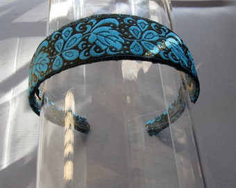 Turquoise Blue and Bronze Flower Headband, for weddings, parties, special occasions